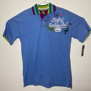 Ecko Unlimited Mens Medium Blue SS Polo Shirt